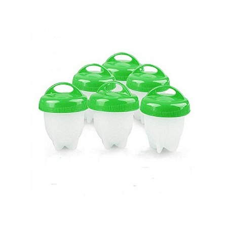 6Pics Silicon Egg Boiler High-temperature Resistant Egg Cooker Kitchen Utensils - Green