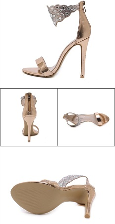 Bling Bling Rhinestone Stiletto High Heels Dress Wedding Shoes For Ladies Open Toe Summer Ankle Strap Sandals Gold