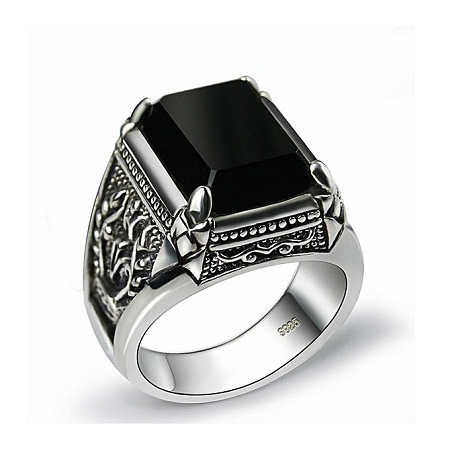 Fashion Black Rings Mens Filled Silver Color AAA Resin Silver