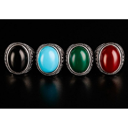Fashion Vintage Rings Green Oval Stone Ring