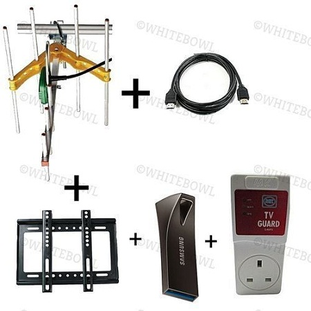 Aerial + 14 inches - 42 inchesTV Wall bracket +10M Aerial Cable + 1.5M HDMI cable + 1 packet Cable Clips + 32GB Flash