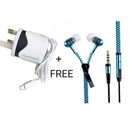 CHARGER + FREE ZIPPER EARPHONES