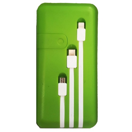 Power Bank 30000MAH WITH 3 CABLES - GREEN