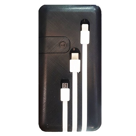 Power Bank 30000MAH WITH 3 CABLES - BLACK