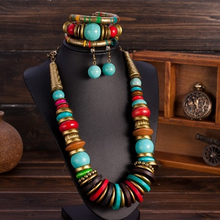 African Beads Jewelry Set with Turquoise Collar Statement Necklace, Ball Drop Earrings & Bracelet multi-colored standard size