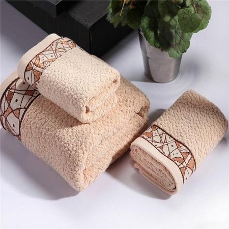 Bath cotton Towel Set - 3 Pieces brown large