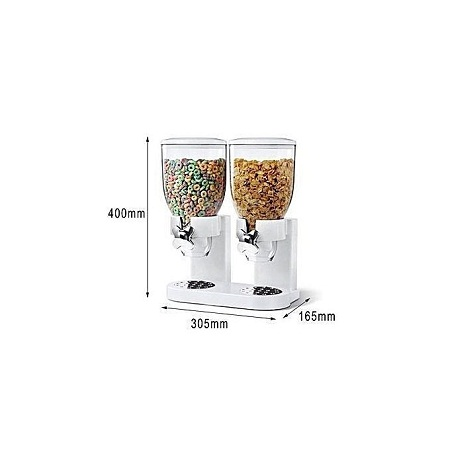 Cereal Dry Food Dispenser Storage white 2 containers