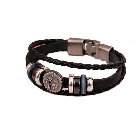 Men's Brace Lace Leather Bracelet with Two Monkey Wrench Detail - Black