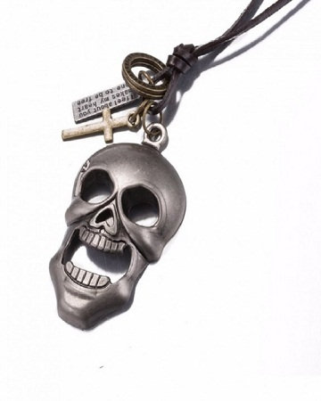 Skull Head Pendant brown one size