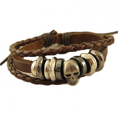 Men's Braided Vintage Bracelet with Punk Rock Skull Detail & Adjustable Leather Straps - Brown