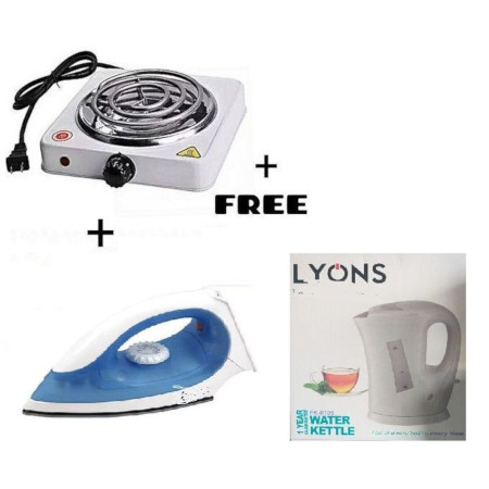 Electric Cooker + STEAM IRON BOX + FREE KETTLE