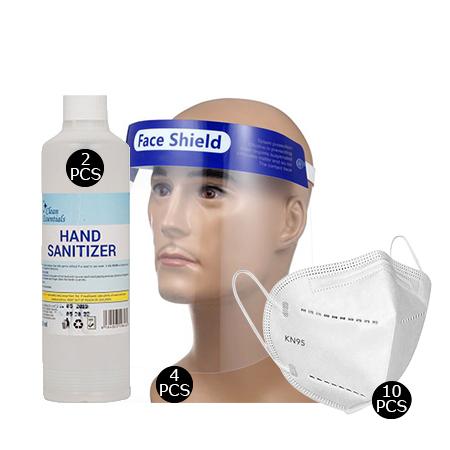 Face shield(4 pcs), 1 Box - KN95 face mask(10pcs), 500ml Hand Sanitizer(2 pcs)