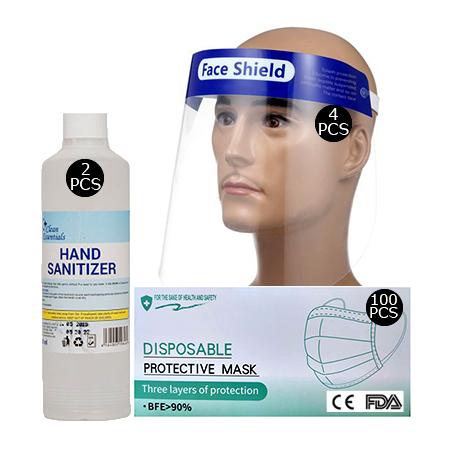 Face shield(4 pcs), 2 Box 3ply Surgical Face Mask(100pcs), 500ml Hand Sanitizer(2 pcs)