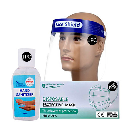 Face shield(1 pc), 1 Box 3ply surgical face mask (50pcs), 50ml Hand Sanitizer( 1 Pc)