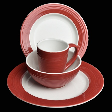 16pc Red and White Dinner Set