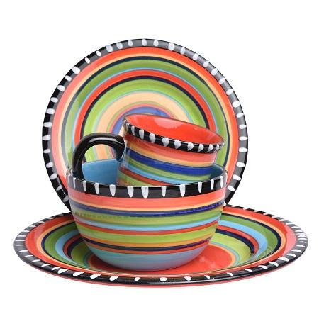16pcs Multicolored Dinner set