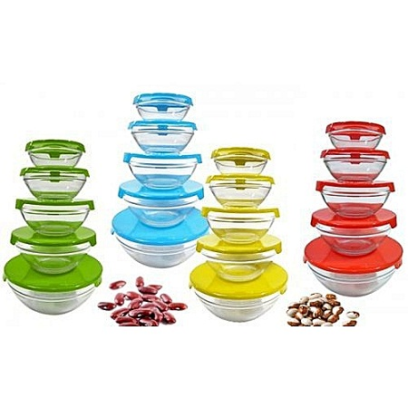 5pc glass bowl with cover