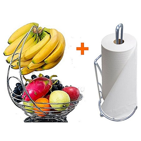 Generic Tabletop Fruit Rack Fruit Basket With Banana Holder + Serviette Roll Holder.