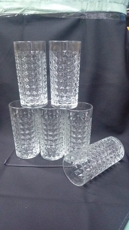 Long Glass with Diamond Pattern