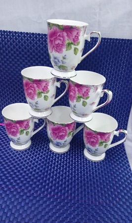 Shapely pink and blue flower cup