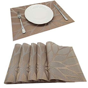 Table Mat Flower 1pc Brown