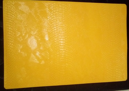 Table mat leather yellow