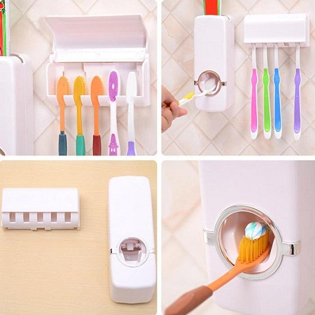 Toothpaste dispenser with 5 toothbrush holder