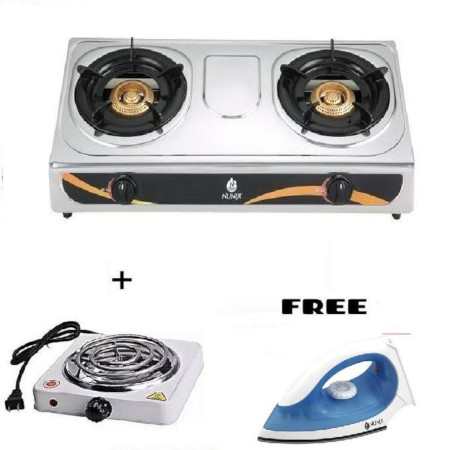 Nunix Double Gas Burner Stove + ELECTRIC COOKER + FREE IRON BOX