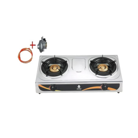 Nunix Table Top Stainless Steel Gas Double Burner + Free Gas Pipe & 13kg Regulator