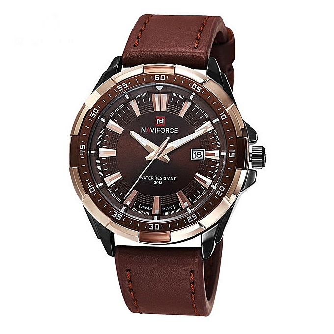 2e4d42a38ead NAVIFORCE Brown Quartz Leather Strap Mens' Wrist Watch Online at ...