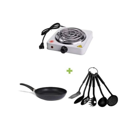 Portable Electric Hot Plate + NonStick Pan + NonStick Spoons