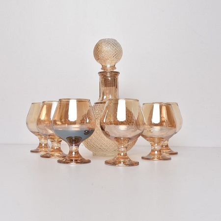 Decanter gold 800ml with short glass wine whisky glass