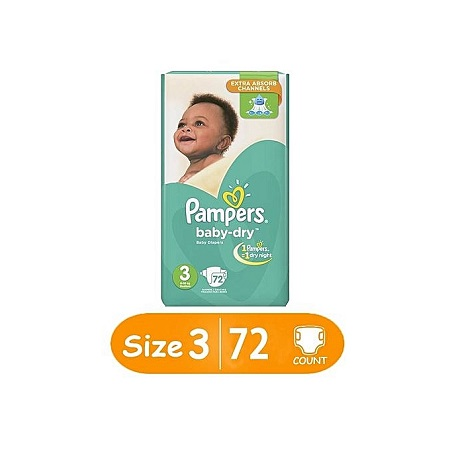 PAMPERS Baby Dry Diapers, Size 3 (Count 72)