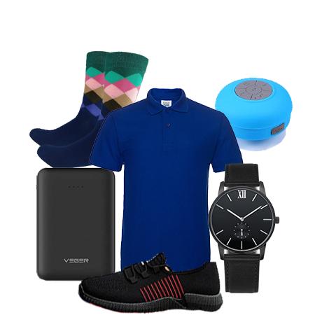 All the 6 belo-  +  Powerbank 5000 maH. + Mens watch + Blue tooth speaker + shoe (size 39-44) + Happy socks