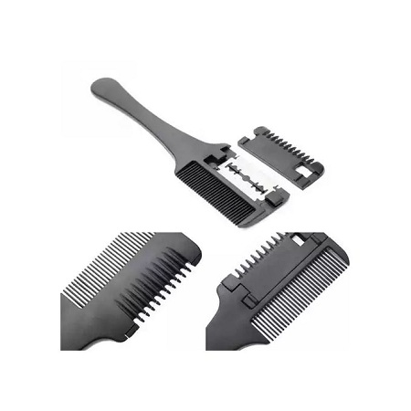 Double Sided Black Handle Hair Razor Cutting, Thinning Comb