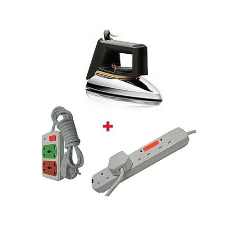 Philips HD1172 - Dry Iron Box + A FREE 2-Way Power Extension Cable And A FREE 4-Way Socket Extension Cable