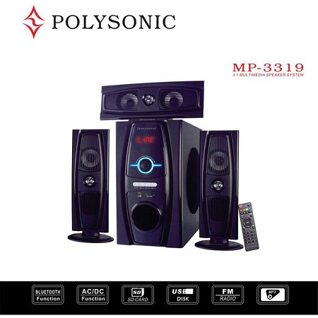 Polysonic MP-3319 Multimedia Speaker System 3.1CH - Black