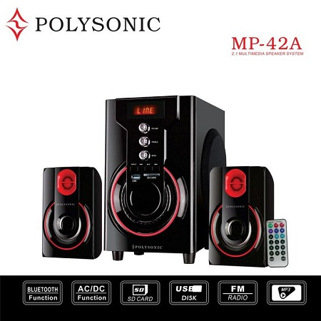 Polysonic Mp-42A Multimedia Speaker System With Bluetooth - Black