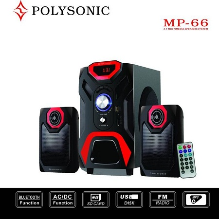 Polysonic MP-66 Multimedia Speaker System with Bluetooth - Black