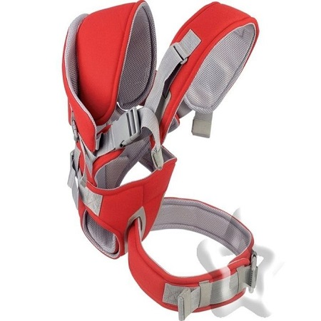 Kidful Baby Carrier, High Quality Adjustable RED Carrier, Suitable For Newborns, Infants, Toddle With Free Baby Socks
