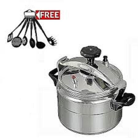 Pressure Cooker - Explosion Proof - 5 Litres+ A FREE Set Of 6 Nonstick Cooking/Serving Spoons Silver