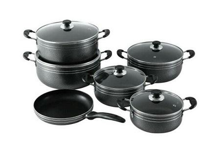 Generic Non Stick Cooking Pots - 11 Pieces - Black