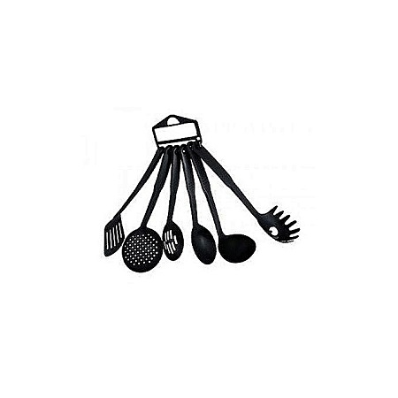 Kitchen King - 6 Pieces - Non-Stick Cooking Spoons Set - Black.