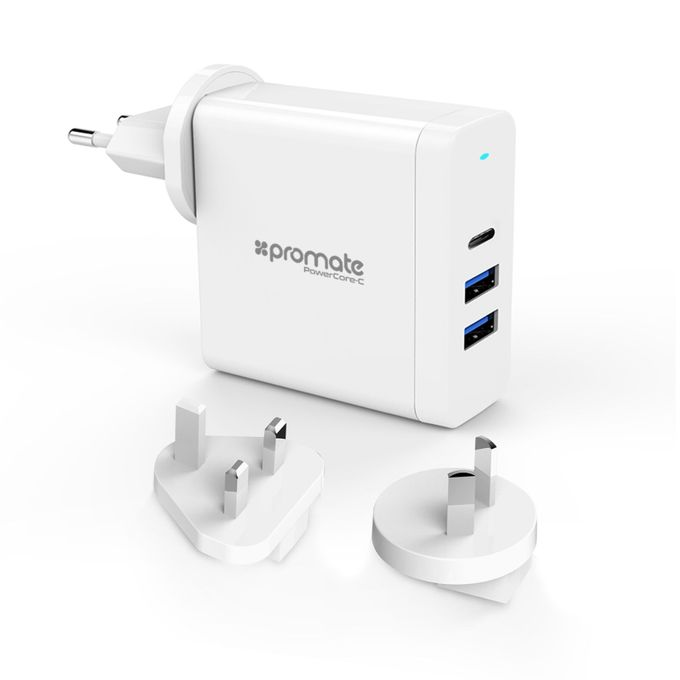 POWERCORE-C White 60W USB-C Adapter with 4 different plug types