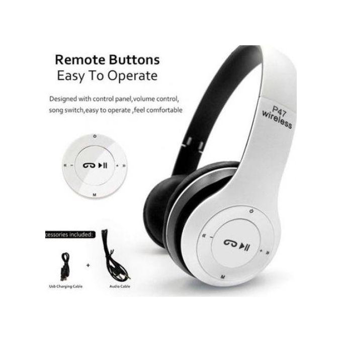 P47 Bluetooth 4.2 Headphone Wireless Earphone -WHITE