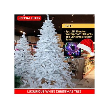 Elegant White Snow Christmas Tree + Free Decor Lights + Hat