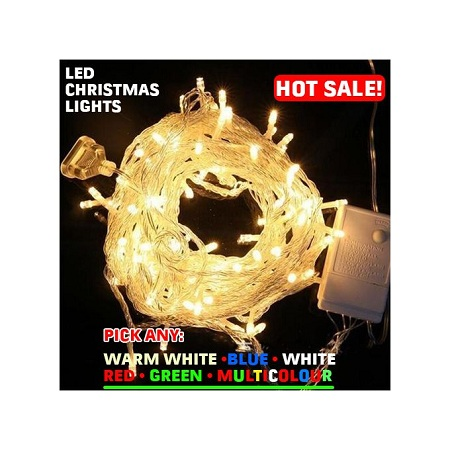 Generic 10meters 100 Lights Waterproof LED Christmas String - WARM WHITE - BLUE - WHITE - RED - GREEN - MULTICOLOUR