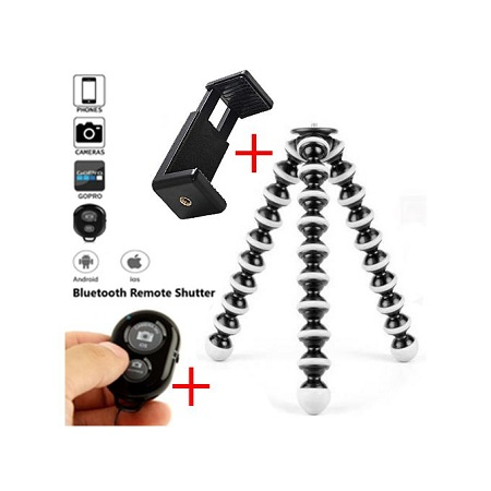 Portable and Adjustable Octopus Tripod Stand Holder for DSLRs/Phones  + Bluetooth Remote Shutter - Black