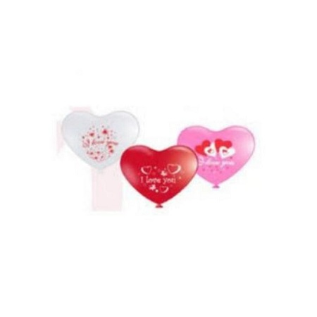 12inch Heart Balloon Standard Pink, Red, & White Colours With Silkscreen Printing inch I Love You 50Pcs/Pkt