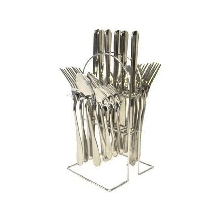 24 Pcs Stainless Steel Cutlery Set +Stand - Silver